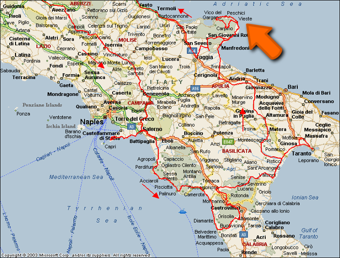 map with navigation route for arrive to vieste in gargano in italy